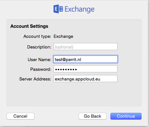 exchange mac account settings perrit