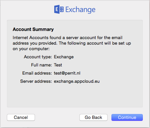 exchange mac account summary perrit